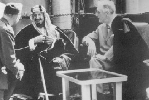 Figure 1A: King `Abdul `Aziz ibn Sa`ud (AD 1876-1953), temporal leader of Salafiyah, in cordial meeting with US President Franklin D. Roosevelt (AD 1882-1945)